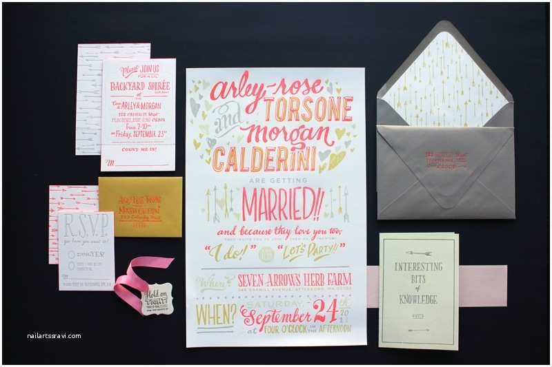 Neon Wedding Invitations Arley Rose Morgan's Neon Wedding Invitations sonderegger
