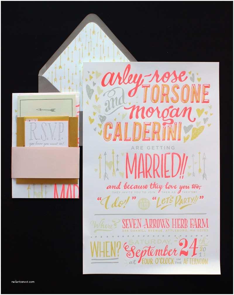 Neon Wedding Invitations Arley Rose Morgan's Neon Wedding Invitations sonderegger