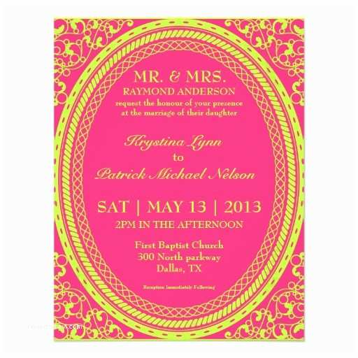 "Neon Wedding Invitations Baroque Fluorescent Neon Wedding Invitations 4 25"" X 5 5"