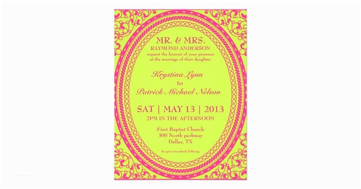 Neon Wedding Invitations Baroque Fluorescent Neon Wedding Invitations