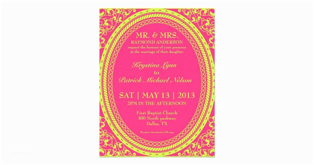 Neon Wedding Invitations Baroque Fluorescent Neon Wedding Invitations