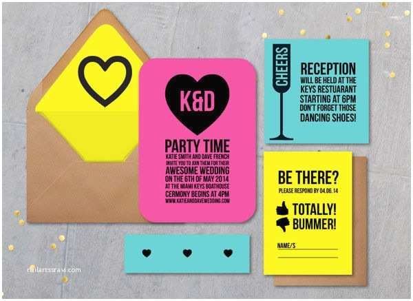 Neon Wedding Invitations Bold Wedding Invitations