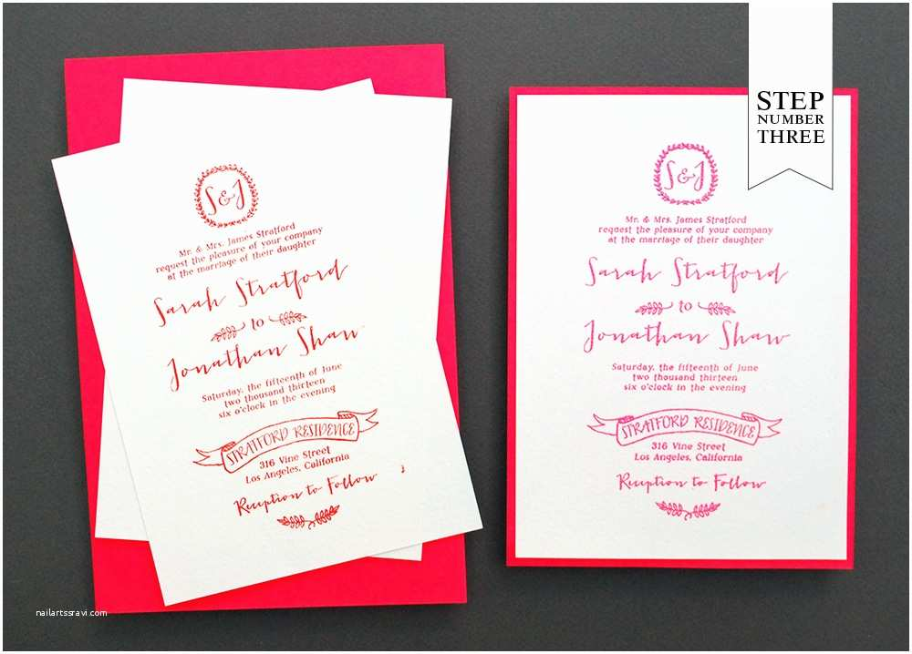 Neon Wedding Invitations Diy Tutorial Neon Kraft Paper Wedding Invitations