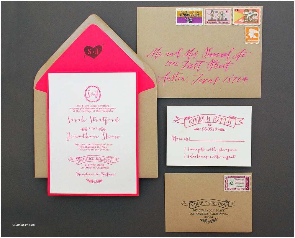 Neon Wedding Invitations Diy Tutorial Neon Kraft Paper Wedding Invitations