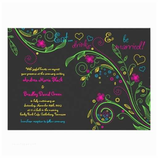 "Neon Wedding Invitations Neon Floral Chalkboard Doodle Wedding Invitation 5"" X 7"