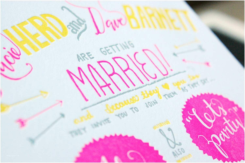 Neon Wedding Invitations Neon Pink Yellow White and Grey Wedding Invitation