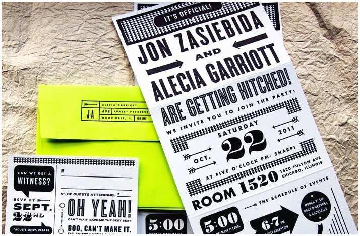 Neon Wedding Invitations Neon Wedding Invitations Lime Green Black White