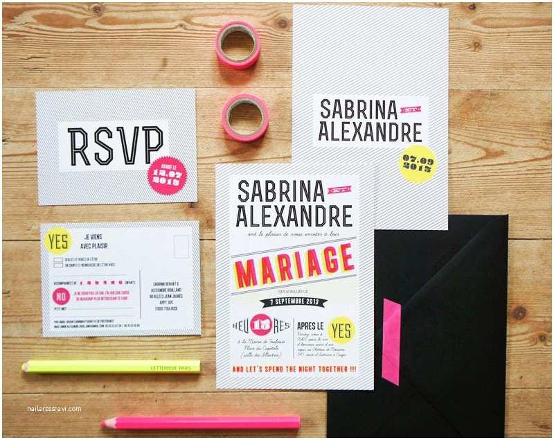 Neon Wedding Invitations Sabrina Alex S Modern and Graphic Wedding Invitations