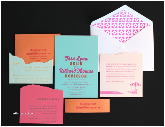 Neon Wedding Invitations Tara Rich S Colorful Palm Springs Wedding Invitations