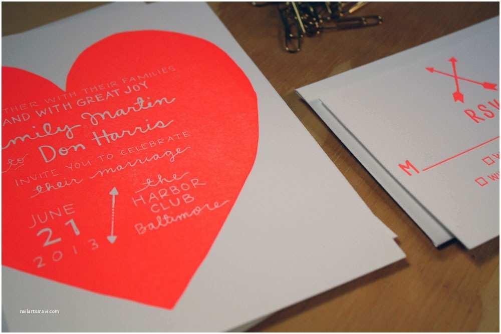 Neon Wedding Invitations Unique Wedding Invitations Letterpress Stationery for