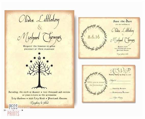 Nerdy Wedding Invitations Geek Wedding Invitation Set Lord Of the Rings Wedding