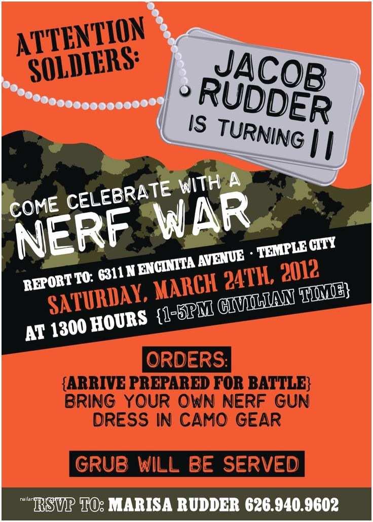 Nerf Birthday Party Invitations Boys Camo Birthday Party Or Nerf War