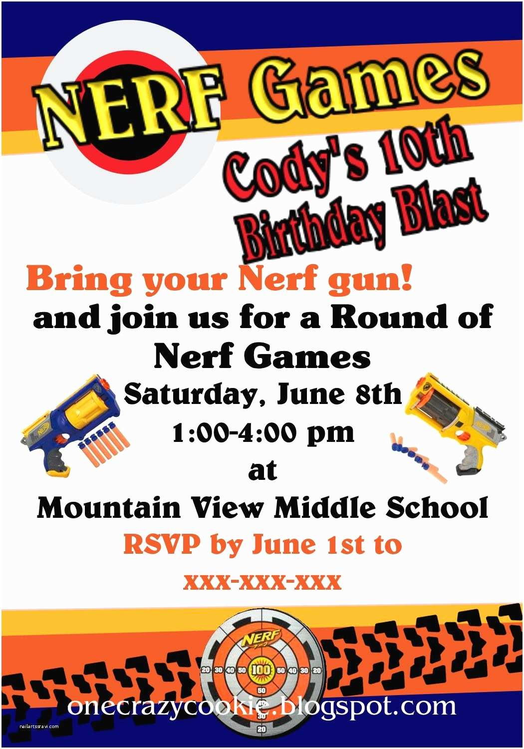 Nerf Birthday  Invitations E Crazy Cookie Using My Creative Side A Nerf