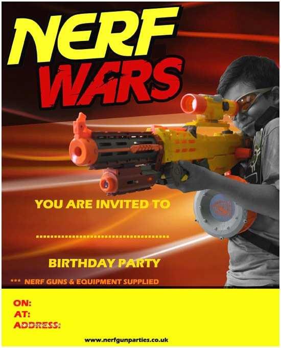 Nerf Birthday Party Invitations Nerf Gun Birthday Party Invitations