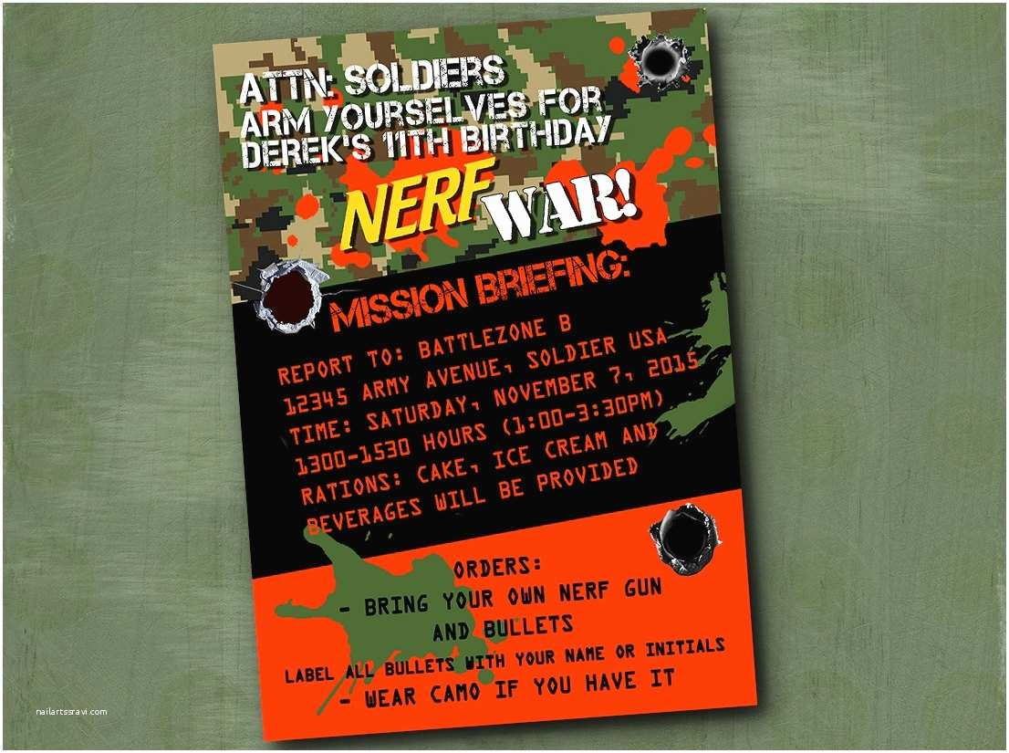 Nerf Birthday Party Invitations Nerf Invitation Nerf War Birthday Party by Parchmentskies