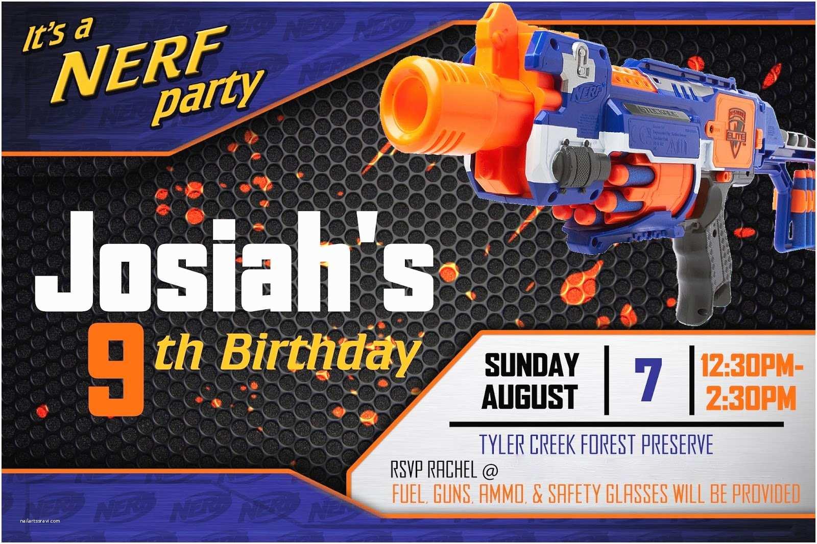 Nerf Birthday  Invitations Nerf