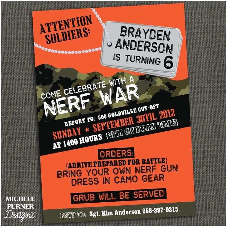 Nerf Birthday Party Invitations Nerf War Boys Camo Birthday Party Invitation