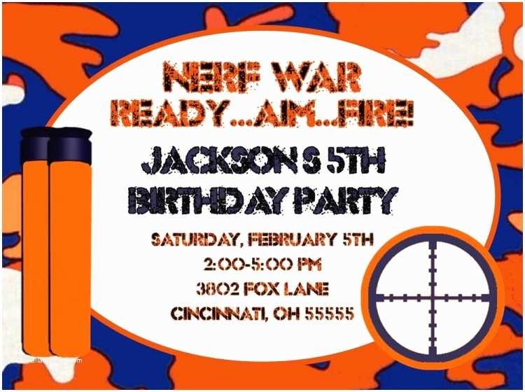 Nerf Birthday Party Invitations Stunning Nerf Birthday Party Invitations