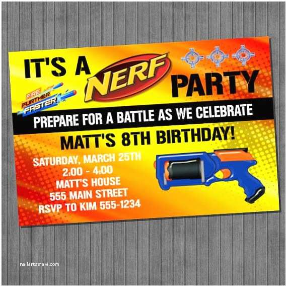 photo about Nerf Gun Party Invitations Printable called Nerf Gun Social gathering Invites No cost Printable Nerf Get together