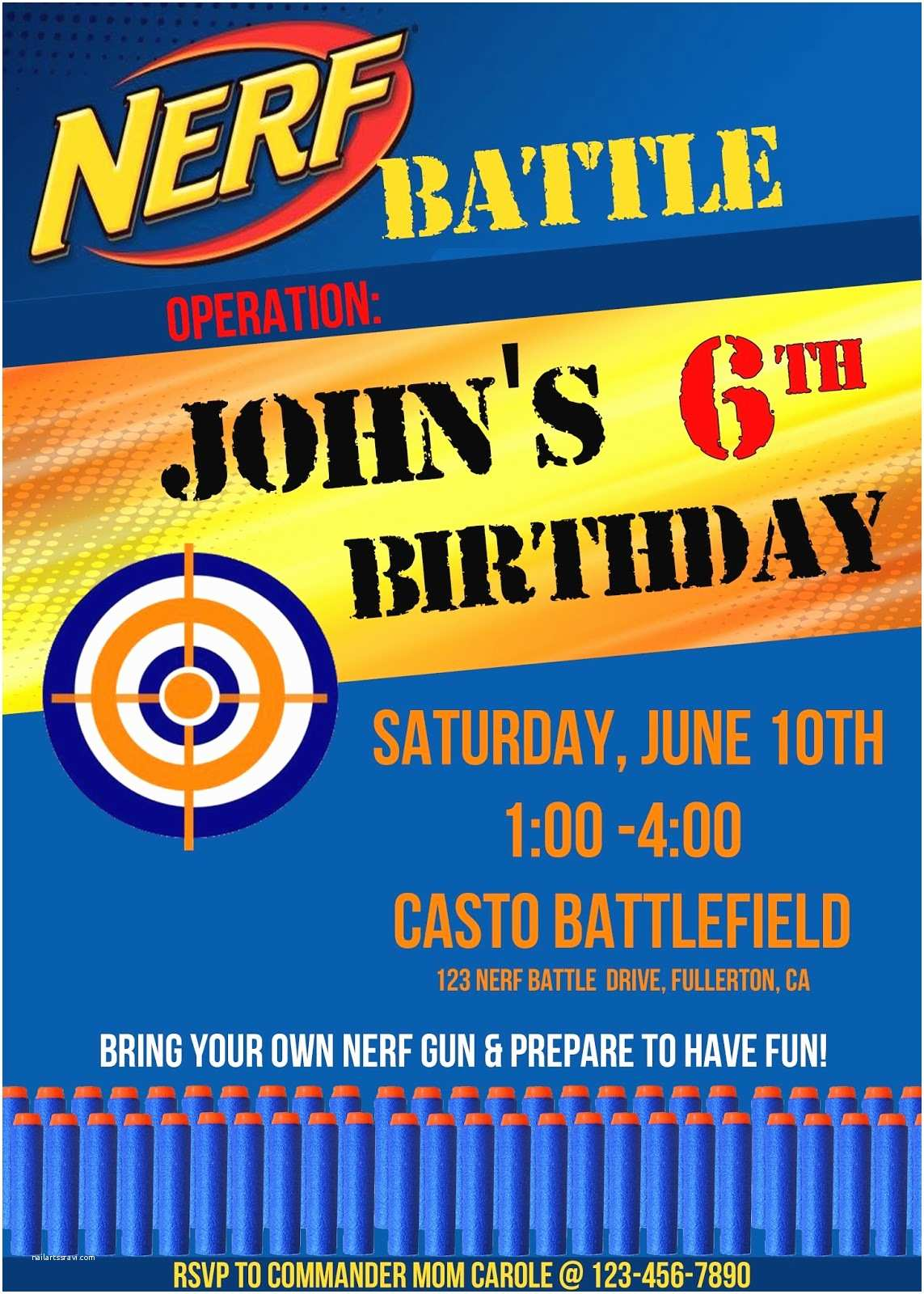 Nerf Gun Party Invitations Invite and Delight Nerf Gun Party