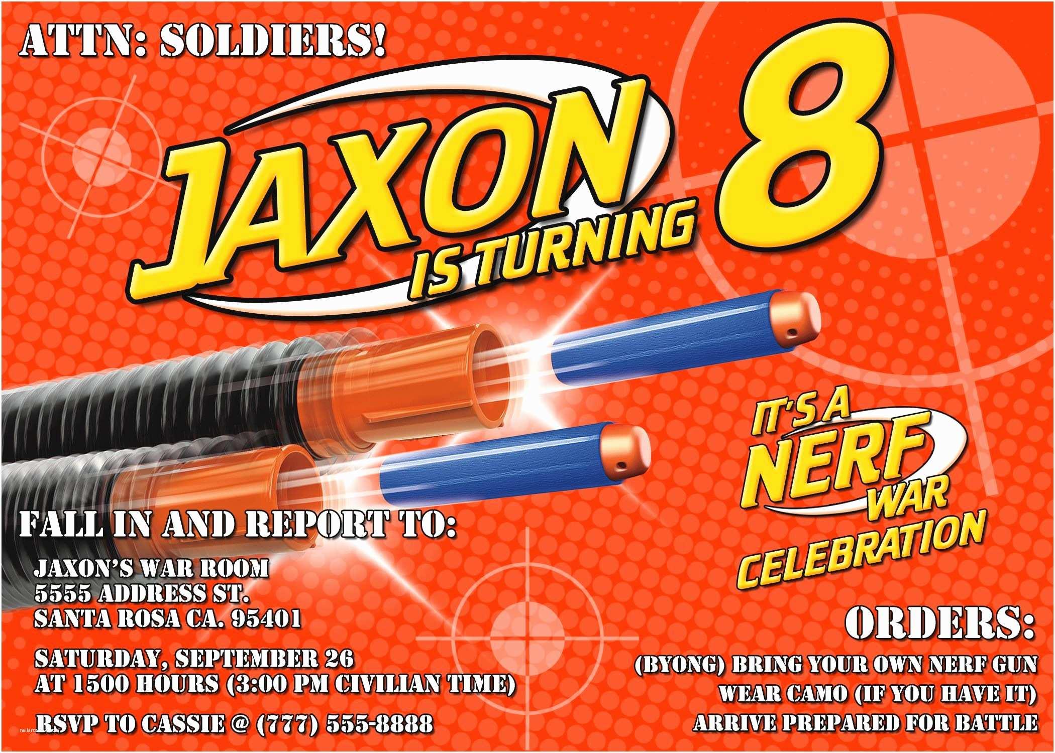 Nerf Gun Party Invitations Nerf Birthday Party Invitations