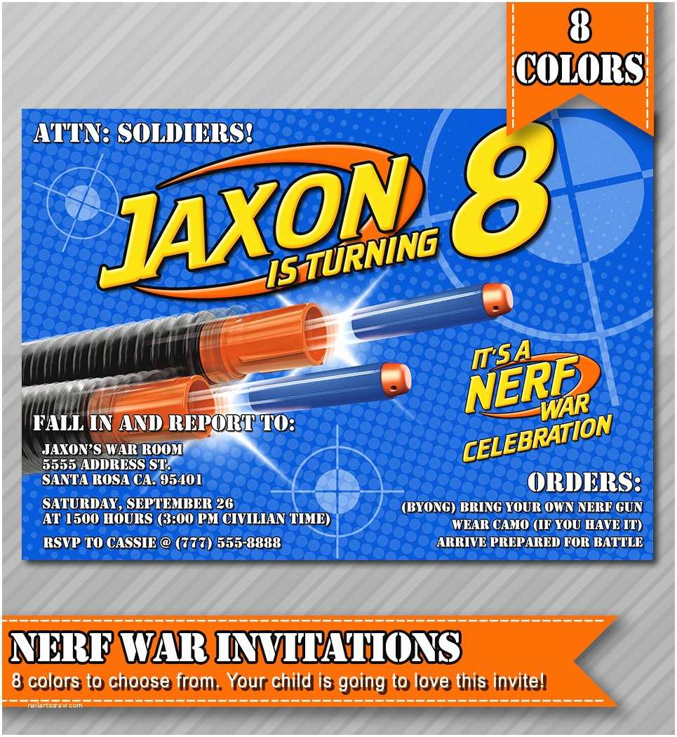 Nerf Gun Party Invitations Nerf Party Invitations Nerf Wars Invitations by Wolcottdesigns