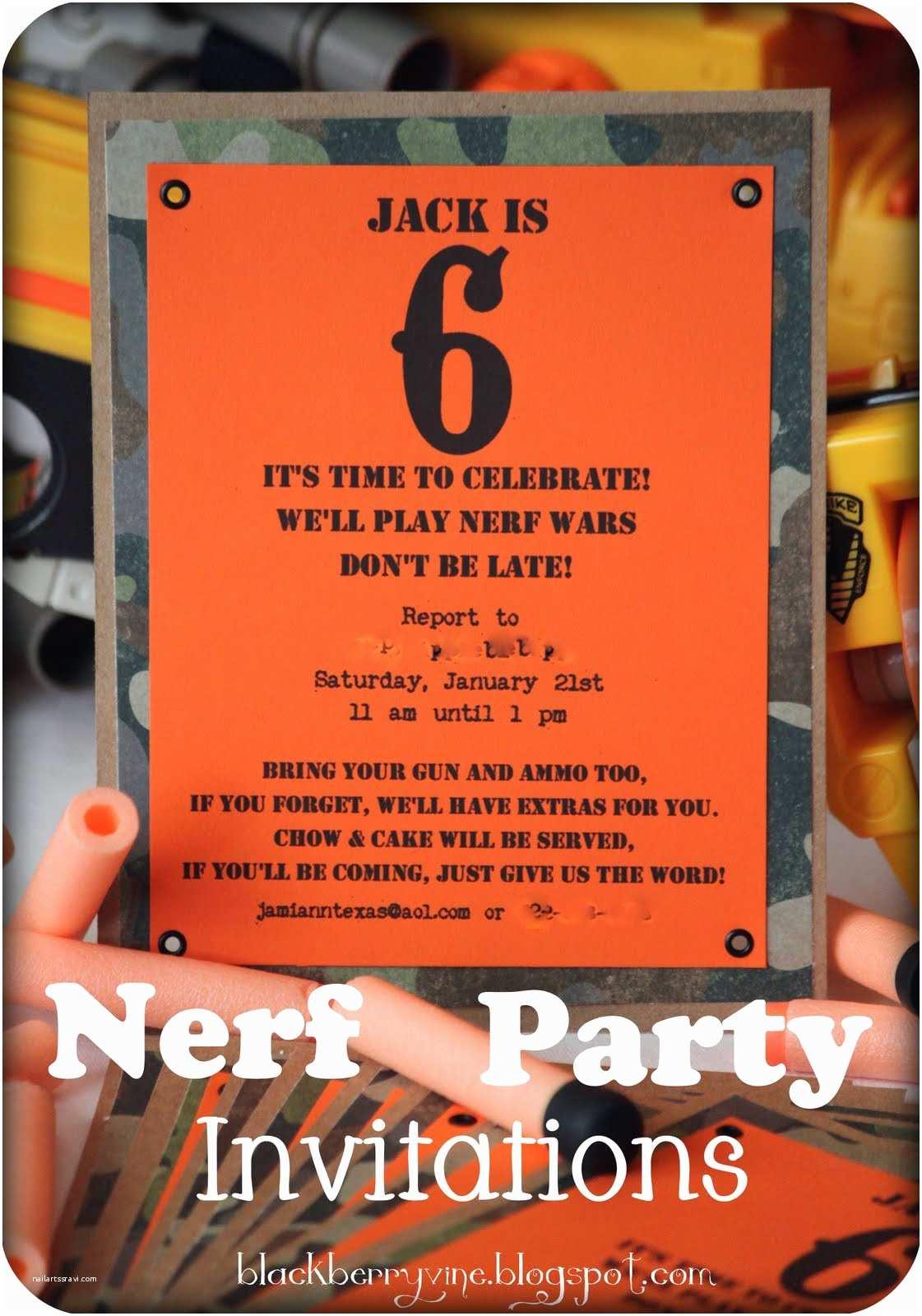 Nerf Gun Party Invitations the Blackberry Vine Nerf Party Invitation