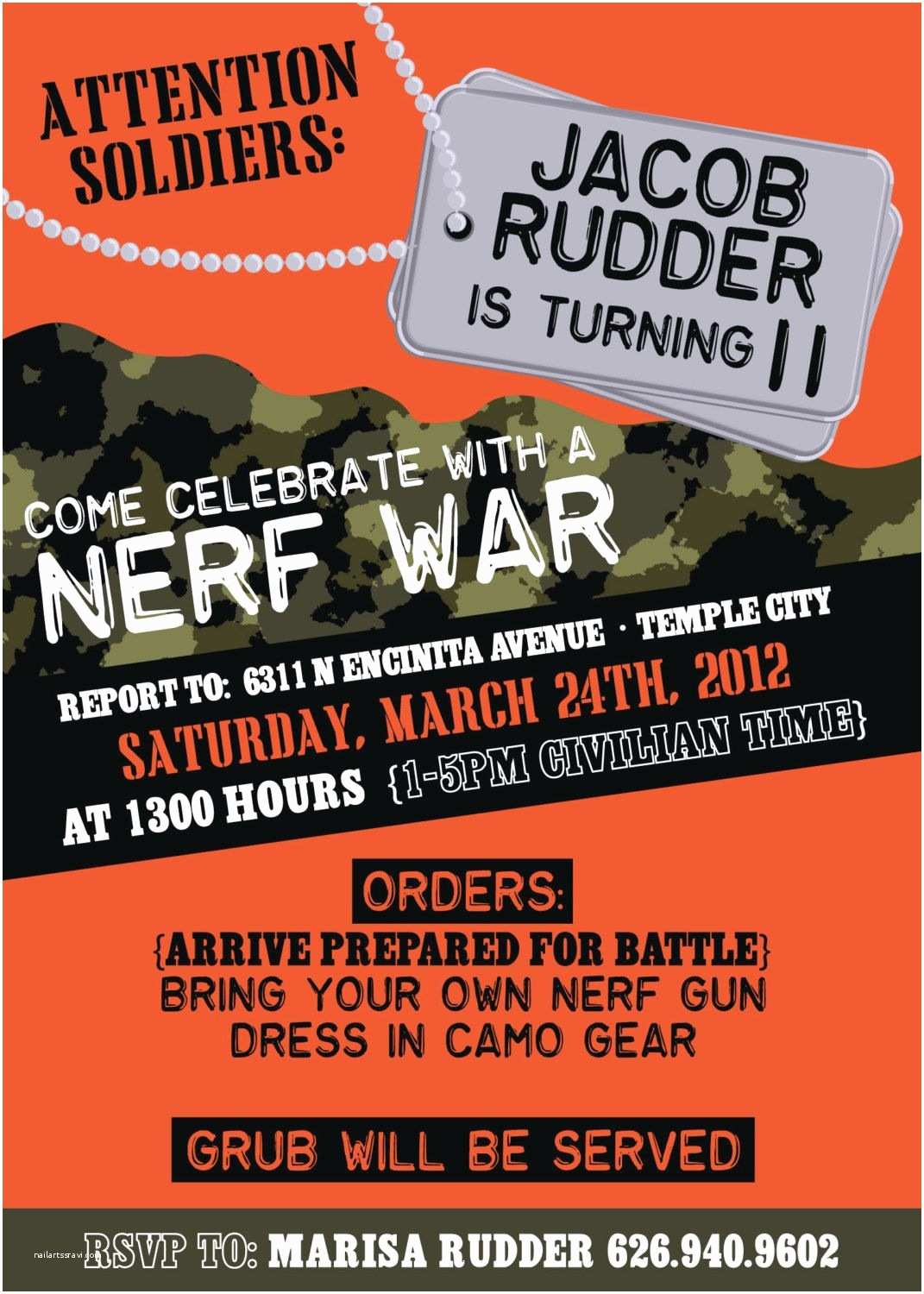 Nerf Party Invitations Boys Camo Birthday Party or Nerf War by