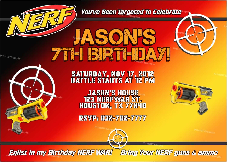 Nerf Party Invitations Nerf Gun Birthday Party Invitations
