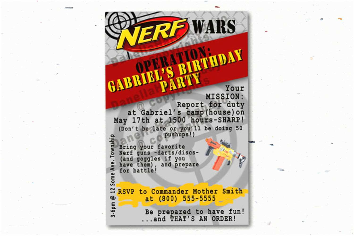 Nerf Party Invitations Nerf Gun Party Invitations Size Customized by Printingthemoon