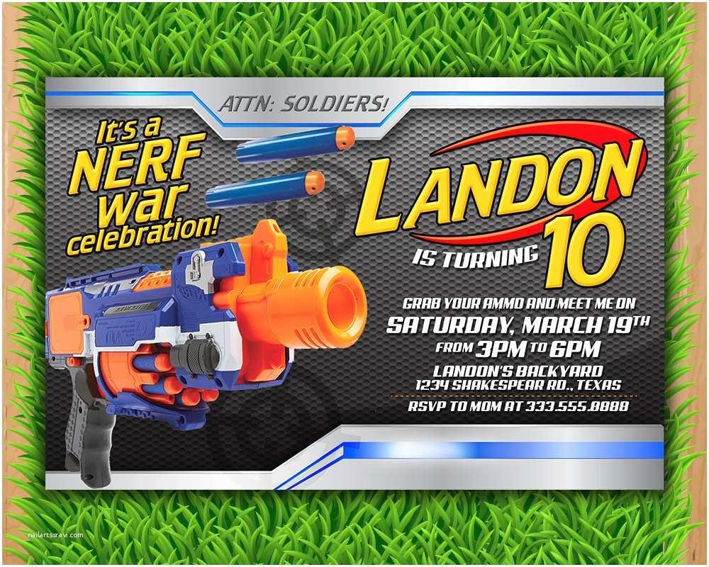 Nerf Party Invitations Nerf Invitation Nerf Wars Birthday Invitation Nerf by