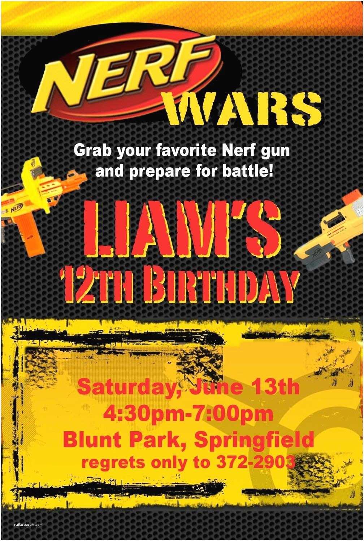 Nerf Party Invitations Nerf War Birthday Party Invitation Idea