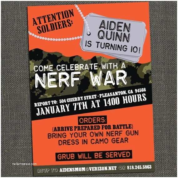 Nerf War Birthday Party Invitations 17 Best Ideas About 10th