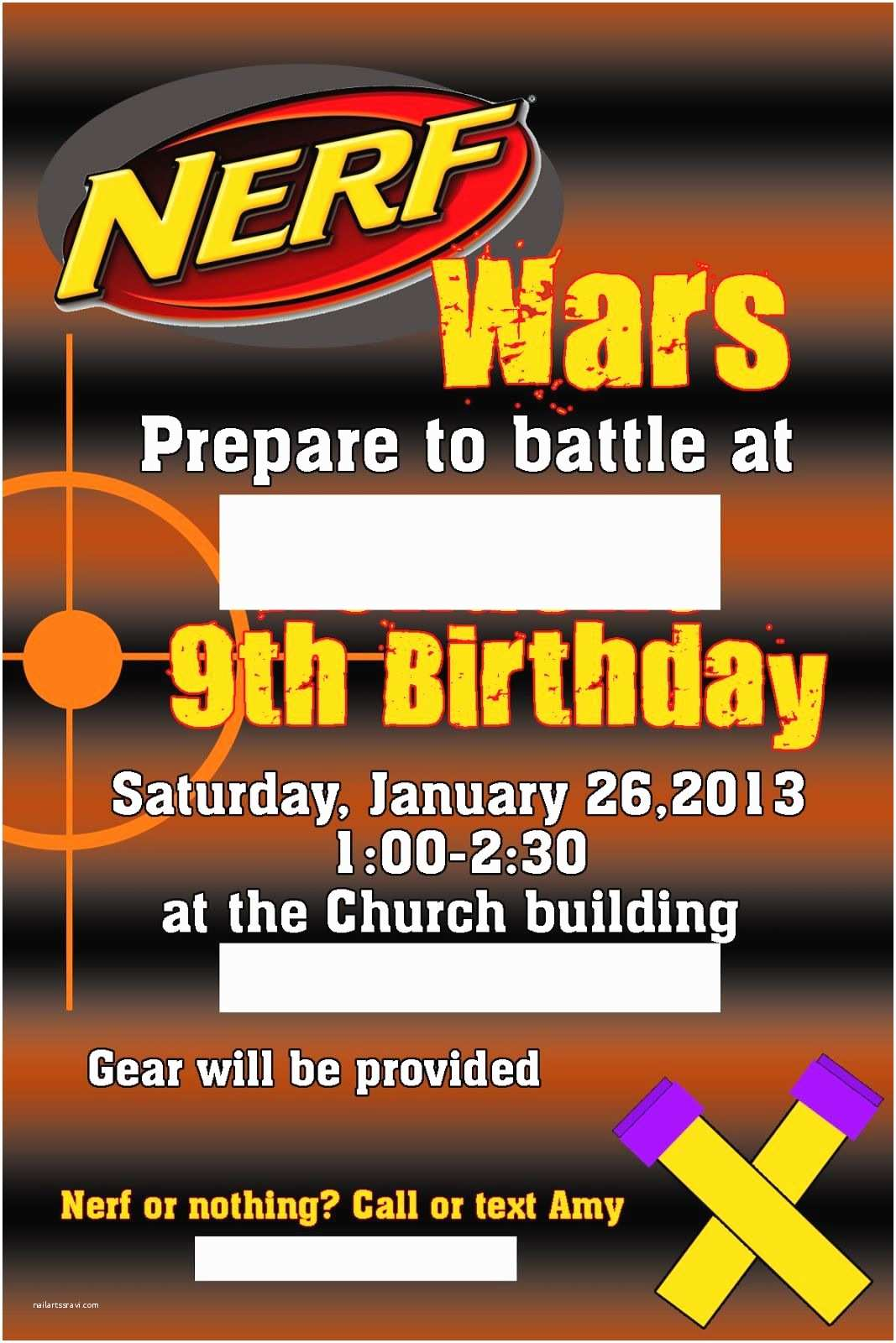 Nerf War Birthday Party Invitations Craft Tales From the Unknown Nerf War Party