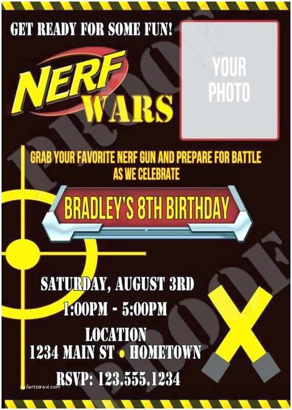 Nerf War Birthday Party Invitations Get Ready Aim Fire Nerf Wars are A Hit for Kids