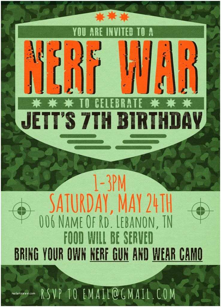 Nerf War Birthday Party Invitations Jett's Nerf War Party