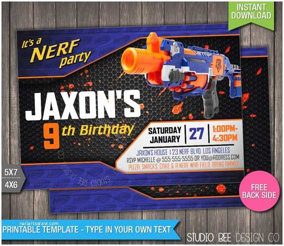 Nerf War Birthday Party Invitations Nerf Birthday Invitation Instant Download by Studiobeedesignco