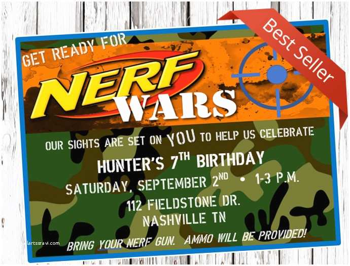 Nerf War Birthday Party Invitations Nerf Birthday Invitation Nerf Gun Party Dart Gun Bday