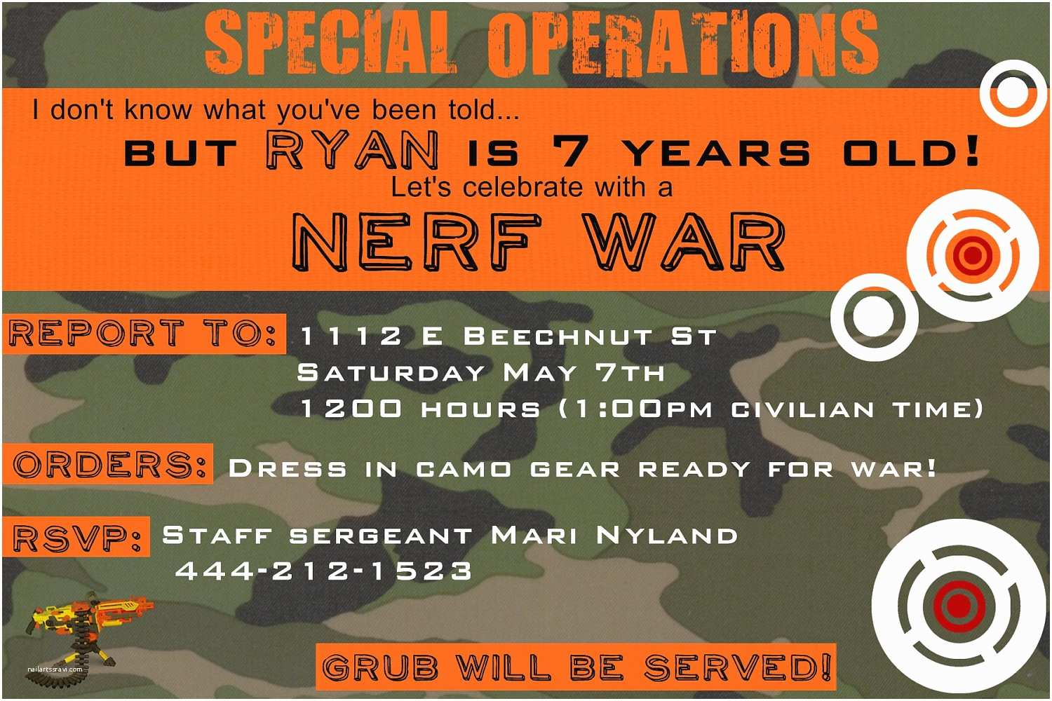 Nerf War Birthday Party Invitations Nerf Birthday Invitation You Print by Yellowlemons On Etsy