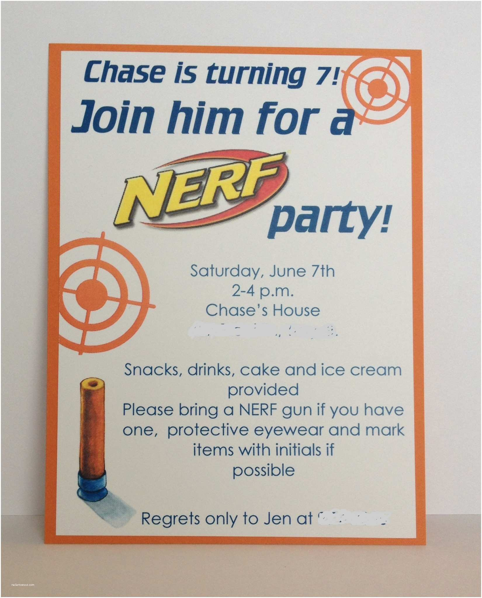 Nerf War Birthday Party Invitations Nerf Birthday Party Invitation