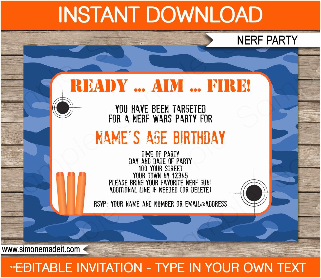 Nerf War Birthday Party Invitations Nerf Birthday Party Invitations Editable Template