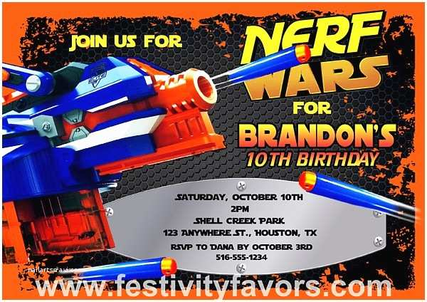 Nerf War Birthday Party Invitations Nerf Birthday Party Invitations