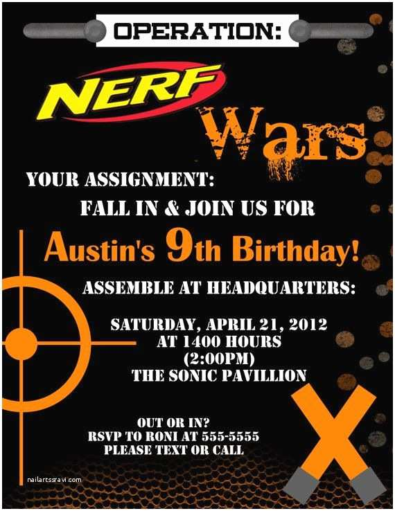 Nerf War Birthday Party Invitations Nerf Dart Digital Birthday Invitation by Stonelovedesigns