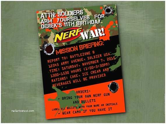 Nerf War Birthday Party Invitations Nerf Invitation Nerf War Birthday Party by Parchmentskies