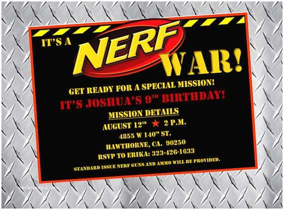 Nerf War Birthday Party Invitations Nerf Party Invitations Nerf Birthday Invitations Nerf Bday