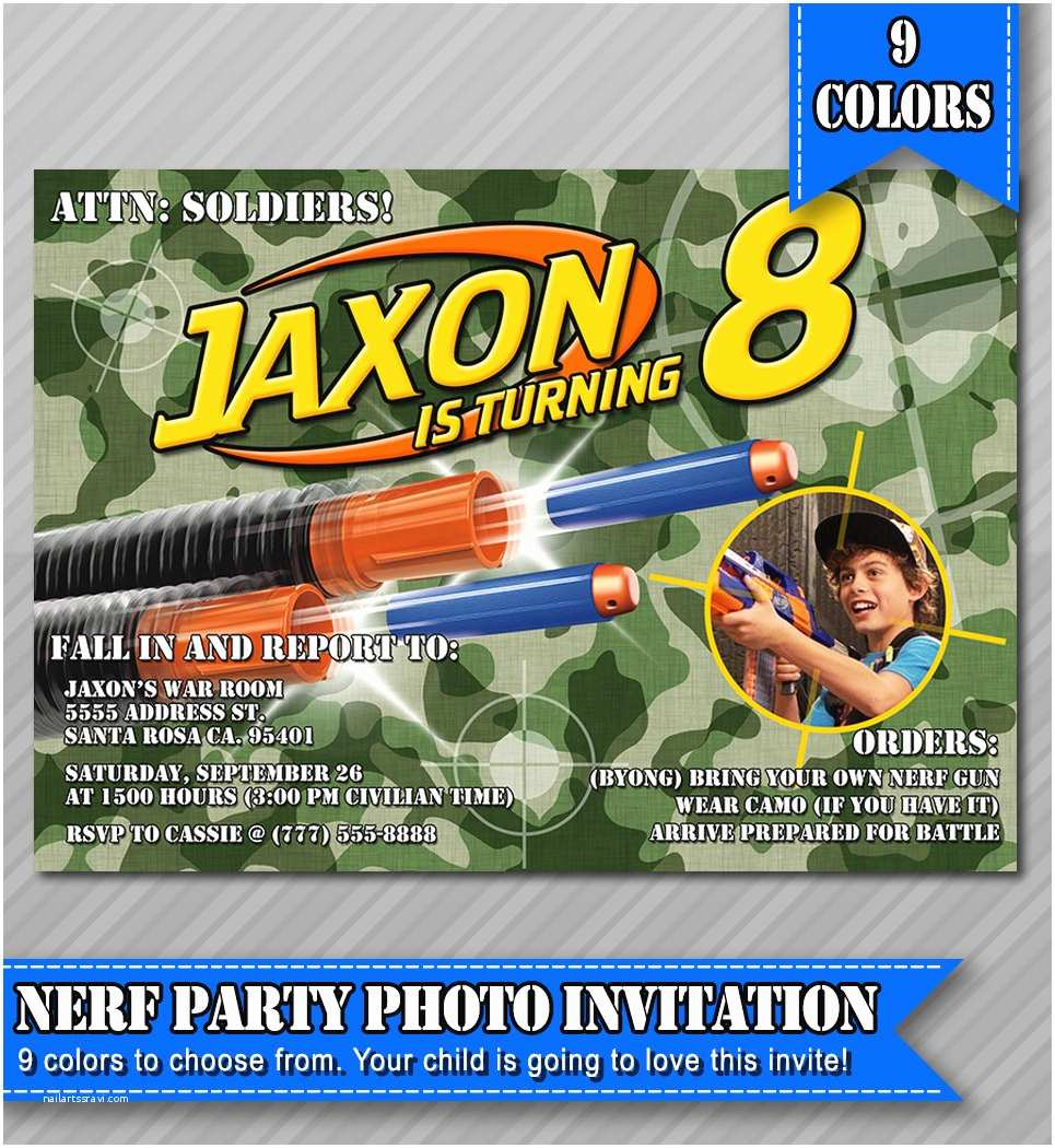 Nerf War Birthday Party Invitations Nerf Party Invitations Nerf Wars Invitations by Wolcottdesigns