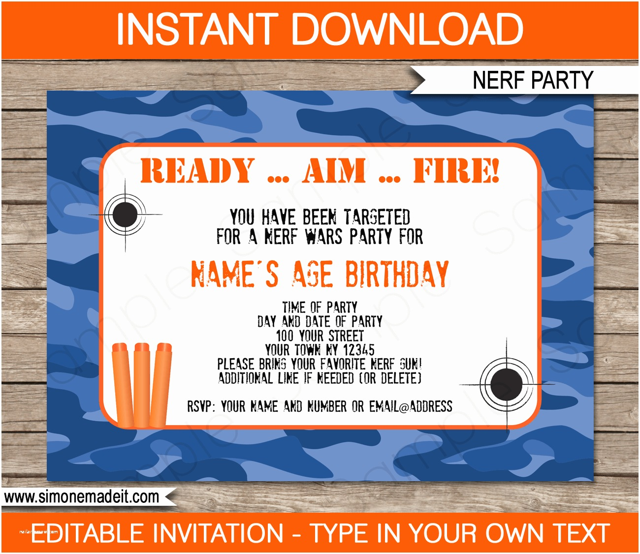 Nerf War Birthday Party Invitations Nerf Party Invitations Template – Blue Camo
