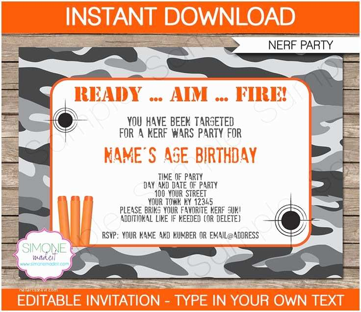 Nerf War Birthday Party Invitations Nerf Party Invitations Template
