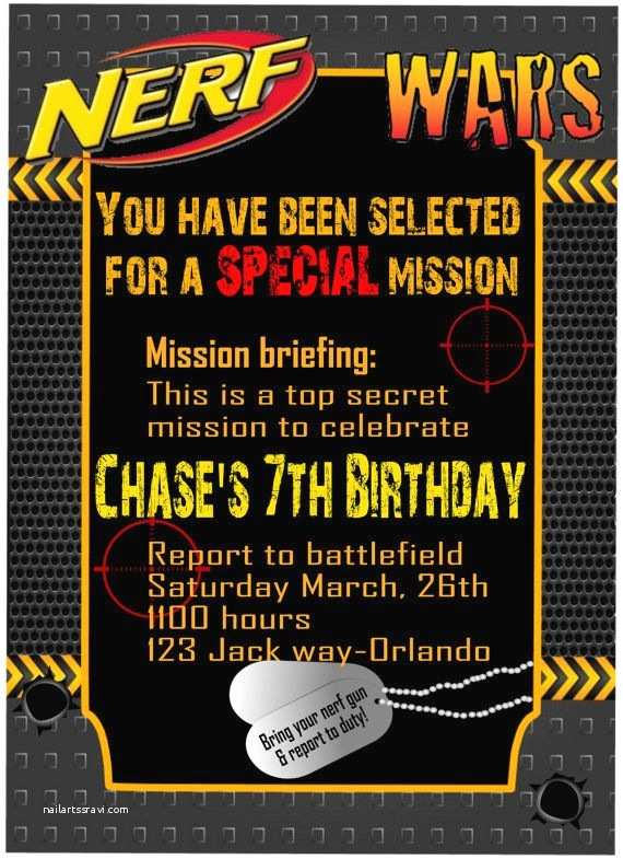 Nerf War Birthday Party Invitations Nerf War Invitation Nerf Wars Nerf War Birthday by