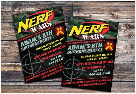 Nerf War Birthday Party Invitations Nerf Wars Birthday Invitations Nerf Wars Invitations by